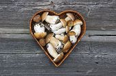picture of edible mushroom  - edible mushroom fungi boletus in heart form wicker basket on old wooden background - JPG