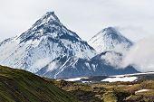 Mountain landscape, volcanoes: Kamen, Kliuchevskoi, Bezymianny