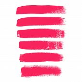Pink ink vector brush strokes