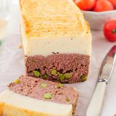 pic of meatloaf  - Beef Meatloaf with Green Peas Topped with Cheesy Mashed Potato close up square - JPG