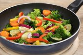 Preparing Vegetables Meal In Cooking Pan