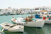 foto of greek-island  - Boats at Naoussa harbor in Greek island of Paros - JPG
