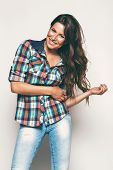 Happy Woman In Check Shirt