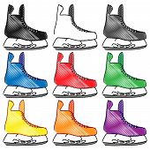 Ice Skates In Different Colours Pencil Style 2