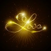 Vector inscription love with lights and fireworks