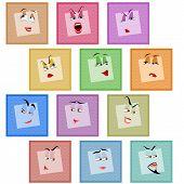 Smile Avatar Icon Sticker Emotion Valentines Face Set