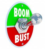 image of levers  - Boom vs Bust words on a 3d toggle switch or lever to illustrate turning on or off your profits - JPG