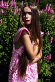 Hot Woman In Pink Dress With Long Hair