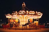 Beautiful Bright Carousel At Black Night