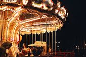 Beautiful Carousel At Dark Night
