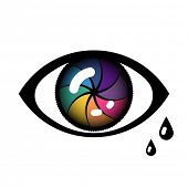 Open Cyber Eye Icon with tears