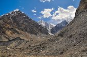 image of shan  - Lower parts of scenic Engilchek glacier with picturesque Tian Shan mountain range in Kyrgyzstan - JPG