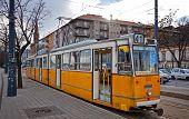 Tram On The Street Of Budapest, Hungary