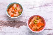 Salmon aspic with vegetables