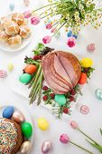 pic of ester  - Whole baked honey sliced ham with fresh raspberry asparagus dyed Ester eggs Easter cake and cross buns - JPG