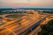 Highway And Suspension Bridge In Thailand