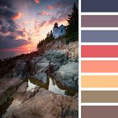 Sunset at Bass Harbor Lighthouse, Mount Desert Island, Maine, USA, with a colour palette of complimentary colour swatches