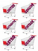 Red 3D Shopping Cart With Vintage Texts