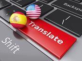 3d translation button on Computer Keyboard. Translating Concept.