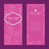 Vector pink abstract flowers texture vertical frame pattern invitation greeting cards set
