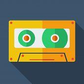 Modern flat design concept icon. Tape recorder. Vector illustrat