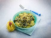 foto of turnips  - tagliolini with turnip top and hot chili pepper - JPG