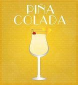 Drinks List Pina Colada With Golden Background
