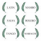 stock photo of tango  - Green laurels seals with different latin music styles - JPG