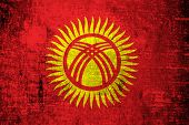 Kyrgyzstan Flag painted on wood background