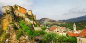 Corte - impressive medieval town in Corsica, panoramic view with
