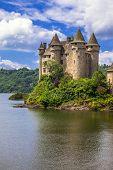 beautiful fairy castle in lake - Chateau de Val, France