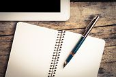 Vintage Image Of Digital Pad And Old Fountain Pen With Notebook
