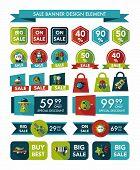Space Sale Banner Flat Design Background Set, Eps10
