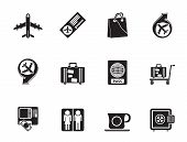 Silhouette airport, travel and transportation icons