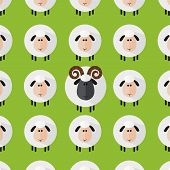 Sheep With Aries Pattern.Modern Flat Design