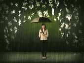 Businesswoman standing with umbrella and 3d numbers raining concept on background