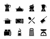 Silhouette kitchen and household equipment icon