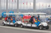 two golf cars in olympic park of Sochi