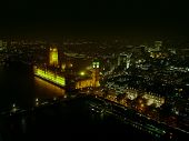 picture of london night  - City of London seen from london Eye at night - JPG