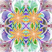 Pattern From Fractal Flowers. Purple, Blue And Yellow Palette. Fractal Design. Computer Generated Gr