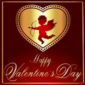 Valentine's Vector-Maroon & Gold Heart With Cupid