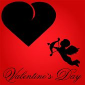Valentine Vector-Red Background With Black Heart & Cupid