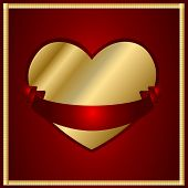 Valentine Vector-Maroon And Gold Heart With A Ribbon