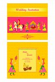 image of dhol  - vector illustration of Indian wedding invitation card - JPG