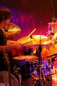 Stage shot of drummer