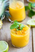 foto of mango  - Fresh Mango with Pineapple and Lime smoothie - JPG