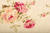 Cotton linen fabric texture with drawing flowers