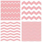 Tile vector pastel pattern set with white and pink zig zag background