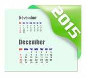December 2015 calendar with past month series