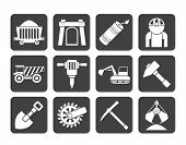 Silhouette Mining and quarrying industry objects and icons